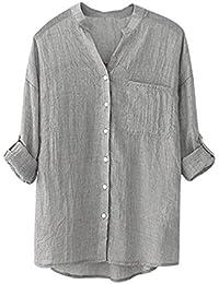 Kukul_Mujer Mujer Blusas Kukul Algodón Camisa de Manga Larga Sólida Blusa Suelta Informal