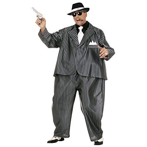 Gangster Frau Mafia Kostüm - Widmann 4501G - Erwachsenenkostüm Dicker Gangster, Kostüm mit Reifen, Jacke und Krawatte, Einheitsgröße