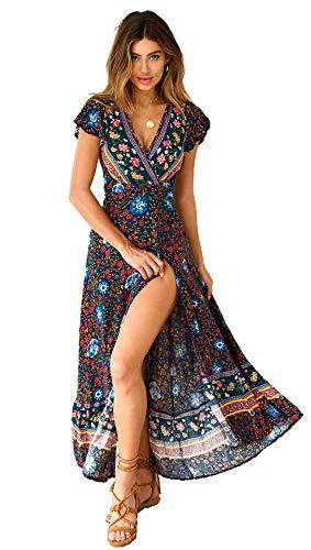 Mangotree Damen Kleider Boho Sommerkleid Wickelkleid V-Ausschnitt Maxikleid Strand Badeanzug Cover-Up Strandkleid mit Schlitz (S, Schwarz Blau)