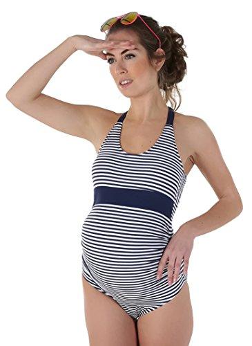 PETIT AMOUR ANYA raffinierter Umstandsbadeanzug Schwimmanzug für Schwangere/Navy-Weiß Gr. L