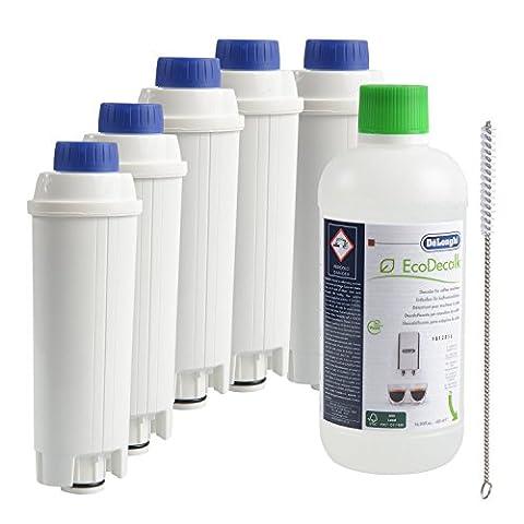 5 x DeLonghi Wasserfilter + DeLonghi Entkalker 500ml + QUVIDO Reinigungsbürste