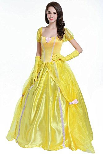 Gold Prinzessin Kleid für Damen Cosplay Kostüm Halloween Fasching (Die Und Kostüm Biest Das Schöne Paar)
