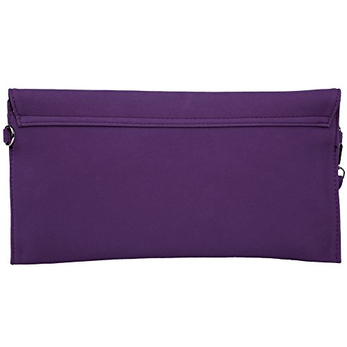 KorMei Damen PU Wildleder Handtaschen Envelope Clutch Party Tasche Violett