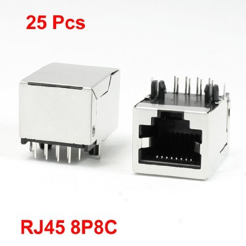 Right Angle Pin 8P8C RJ45 PCB Jack Female Modular Network Connector 25Pcs (Connector Right Angle Pin)