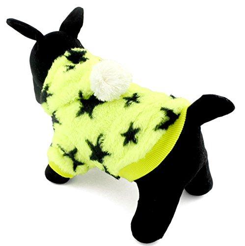 zunea Sterne kleine Hunde Samt Fell Pullover Jumper Weich Warm Puppy Pet Hoodie Winter Kleidung Bekleidung (Solid Modische Wolle)