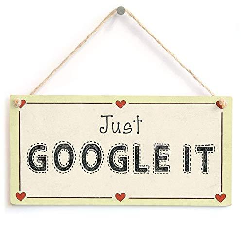 Jiokare Just Google It Plaque hängenden Schuppen Chic Antik Holz Schild Home Decor 10 X 5 Zoll(Kostenlose Senden Sie Retro-Seil) (Google-schild)