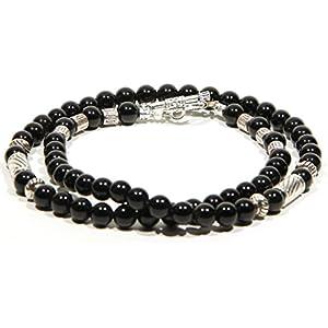 Handgemacht Schmuck Unisex Biker Silber Schwarz Achat Halskette für Männer Elegant Geschenk für ihn Geschenk für sie Halskette für Frauen