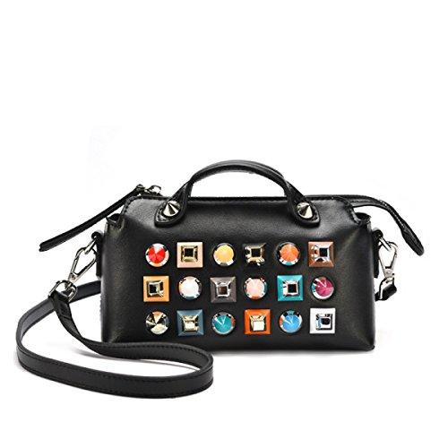 Neue Lederne Handtaschen-Farben-Niet-Dame-Handtaschen-Kurier-Beutel,Black (Black Kurier-tasche)