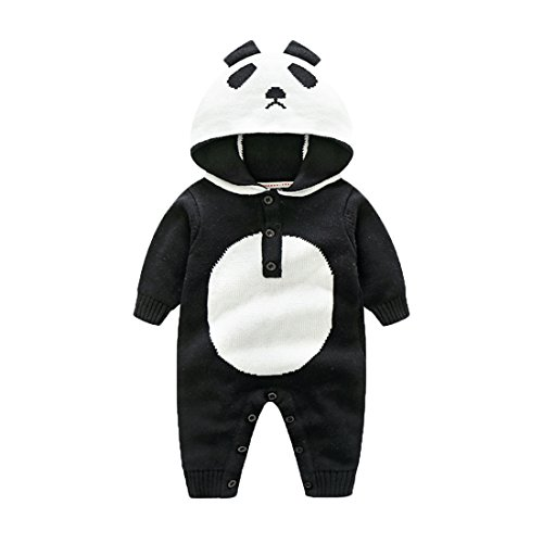 Gestrickter Strampler Overall Jumpsuit aus Baumwolle Panda Tieroutfit Tier Kostüm mit Kapuze für Jungen Mädchen Schwarz 66 (Liebe Tier Kostüm)