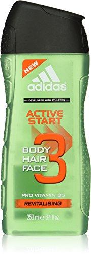 adidas Active Start Hair & Body & Face 3 Shower Gel 250 ml, 3er Pack (3 x 250 ml)
