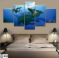 yuandp Wohnkultur Modulare Leinwand Bild 5 stücke Lagaacrus Monster Hunter Spiel Malerei Poster Wand Home Leinwand Malerei Rahmen