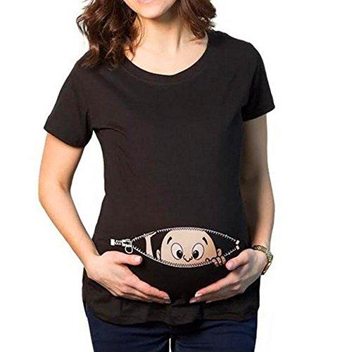 MEIHAOWEI Baby Reißverschluss Gedruckt T-Shirt Schwangerschaft Schwangere Mutterschaft T-Shirts Schwarz 3XL (Groß Umstandsmode Frauen)