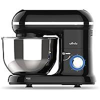 Küchenmaschine Knetmaschine Food Processor Wancle Stand Mixer, mit 5.5 Liter Edelstahlschüssel, Spritzschutz, Rührbesen, Knethaken und Ballon-Schneebesen (Schwarz)