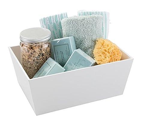mDesign Aufbewahrungsbox für Badaccessoires in weiß – Holzkiste für Handtücher, Lotionen, Seifen & Co. - ideal für das Badezimmer oder Gäste-WC - 30 x 23 x 13 cm