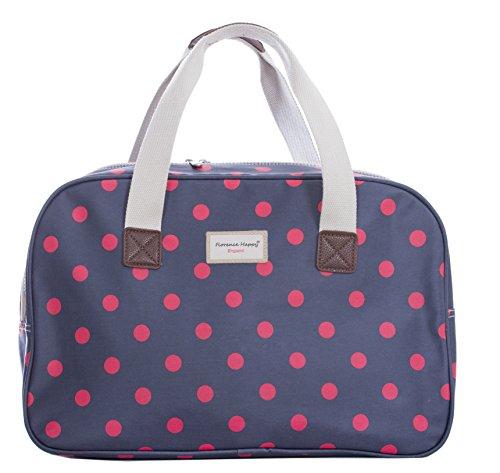Reisetasche, Wachstuch gemustert, Blumen-/Eulen-/Streifen-Aufdruck, für Urlaub und Wochenende Gr. Large, Navy Red Spot (Gewebt Spot)