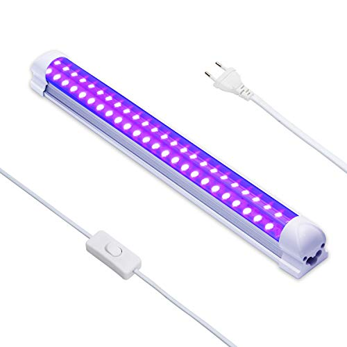 Luz Negra UV,Eleganted 10W Luz Ultravioleta 220V UV Led Tubo con EU Enchufe para Halloween Fiestas Boda...