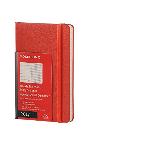 Moleskine DHF1612WN2Y17 - Agenda semanal 12 meses, pocket 9 x 14, color naranja coral