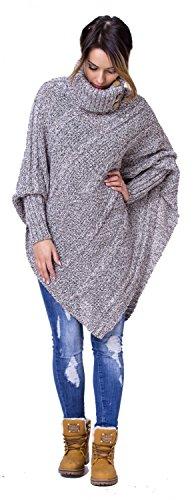 Zeta Ville - Poncho en tricot torsadé à col montant chauve-souris - Femme - 956z Mélange Marron