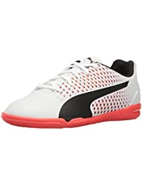 PUMA Unisex-Kids Adreno Iii Soccer-Shoes, Puma White-Puma Black-Fiery Coral, 1 M US Little Kid