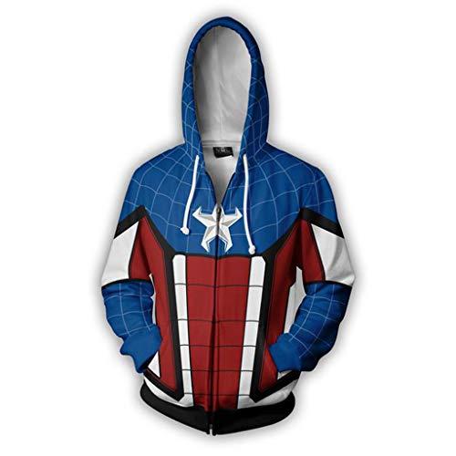 Henxizucun Kinder Erwachsene Film Cosplay Kostüm Druck Spinne Muster Overall Druck Hoodie Sweatshirt Reißverschluss Jacke,Blue,XXXXXL