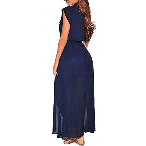iShine Casual Kleider Damen Lang Kleid Boho Maxikleid Strandkleider Urlaub Sommerkleider Blau