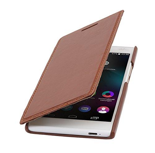 StilGut Book Type Case ohne Clip, Hülle aus Leder für Wiko Ridge 4G, Cognac
