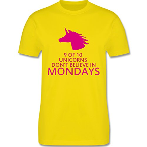 Nerds & Geeks - Einhorn - 9 of 10 unicorns don´t believe in mondays - Herren Premium T-Shirt Lemon Gelb