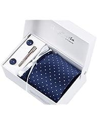 Coffret Cadeau Ensemble Cravate homme, Mouchoir de poche, épingle et boutons de manchette Bleu Foncé a Points