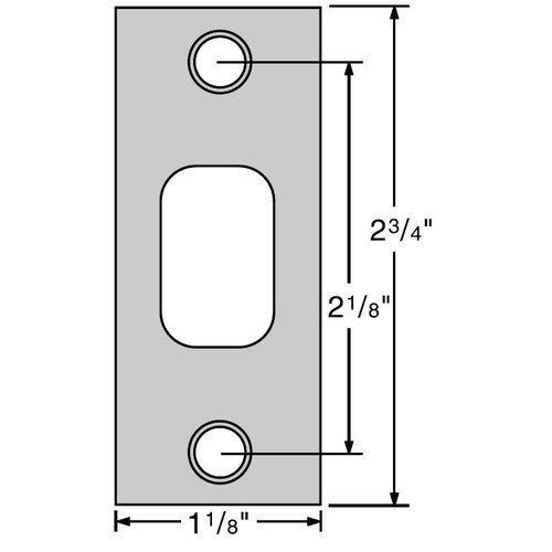 Kwikset 85278 2-3/4 x 1-1/8 Square Corner Strike Plate, Satin Nickel by Kwikset -
