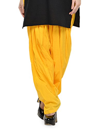 Stylenmart Women Cotton Solid Full Patiala Salwar (Stmapa078620 _Yellow _Free Size)