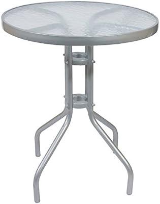 Bistro Mesa Mesa de jardín estructura de metal de metal plateado con tablero de cristal 60x 70cm