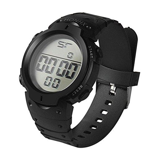 SUNNSEAN Uhr,Art und Weise Wasserdichte Männer Boy LCD Digital Stoppuhr Datum Gummi Sport Armbanduhr Chronograph Beiläufig Armbanduhren (Schwarz)