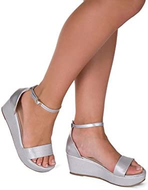 Para mujer negro dorado plateado puntera abierta plataforma cuña alta Talón Tobillo Strappy verano sandalias tamaño UK 3-8