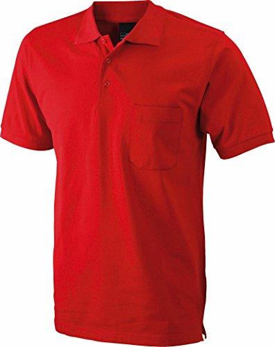Men's Polo Pocket/James & Nicholson (JN 922) S M L XL XXL 3XL, red, XL (Polo-shirt Pique Pocket)