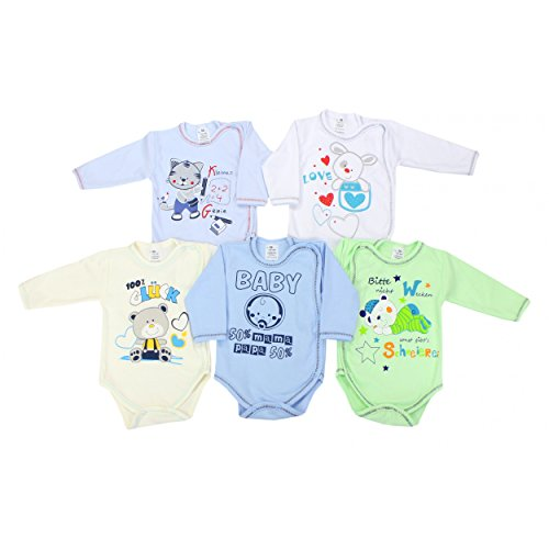 Baby Langarm-Wickelbody mit Aufdruck Spruch Mädchen Baby-Body Set Jungen 100% Baumwolle, Farbe: Junge, Größe: 74