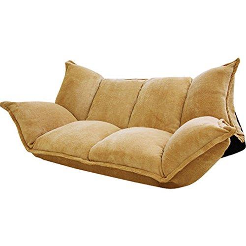 Tumbonas MAZHONG Forme a Pares el sofá de Suelo de Doble Uso Plegable Creativo Solo sofá Doble de la Silla Balcón sofá Perezoso Encantador (Color : Amarillo)