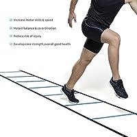 Homgrace Koordinationsleiter Trainingsleiter Fußball Fitness Geschwindigkeit Beweglichkeit Training Leiter mit Tasche, 7m / 6m / 5m / 4m Wählbar, Blau