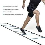 Fútbol Entrenamiento Escalera para Velocidad Agilidad Coordinación con 4 metros 7 Peldaño (Azul)