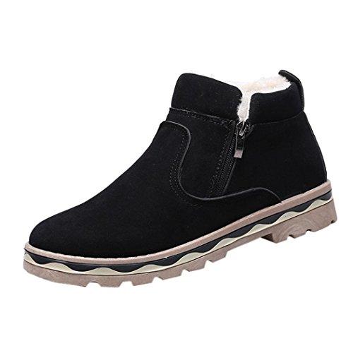 XINANTIME - Zapatos de hombre Moda Zapatillas de deporte de hombres de moda Hombre Invierno PU cuero caliente nieve Cool Sneakers Inglaterra Botines con cremallera Botines (43, Negro)
