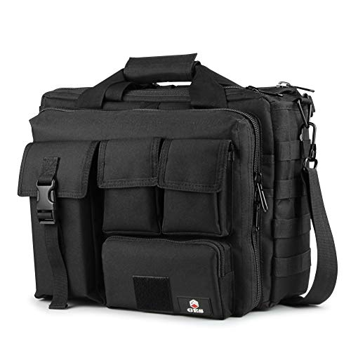"GES Multifunktions Herren Outdoor Tactical Schulter Laptoptasche Militär Nylon Metall Schnalle Laptop Messenger Aktentasche Handtaschen für 17,3""Laptop/Kamera (Schwarz -17.3\"")"