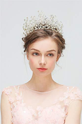 LILIMO Prinzessin Crown Haar Zubehör Braut Hand-Gestrickte Tiara Brautkleid Brautjungfer Zubehör...