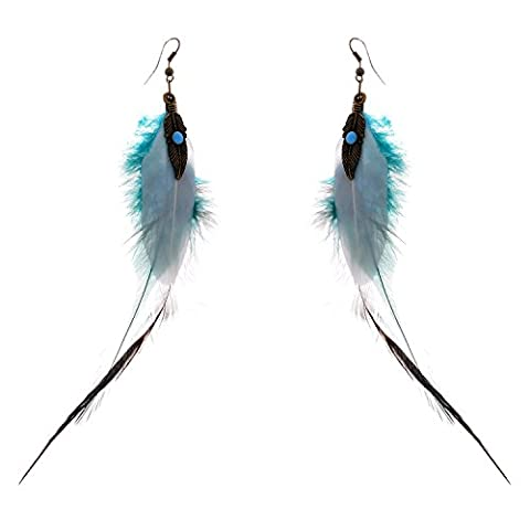 Lureme® Vintage Antique Handmade Bleu Plume Dangle boucles d'oreilles for Women Filles (02004883)