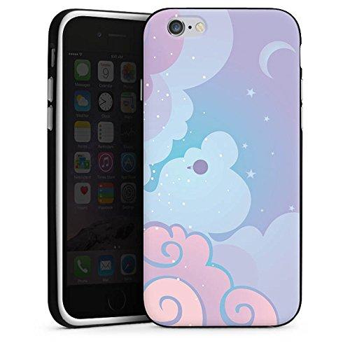 Apple iPhone 4 Housse Étui Silicone Coque Protection Nuages Ciel Étoiles Housse en silicone noir / blanc