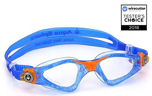 Aqua Sphere Unisex Jugend Kayenne Junior Schwimmbrille, Klare Gläser-Blau/Orange, One Size