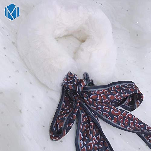 MYWEIJ Mode Weiche Frauen Faux Kragen Schal Plüsch Seide Leopard Warme Winter Schal Wrap Elegante Mädchen Damen Schals -