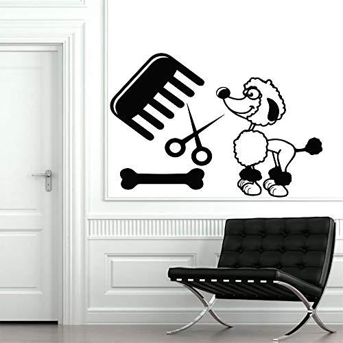 Dog Grooming Salon Pet Shop Sticker Decal Muurstickers Posters Vinyl Wall Art Decals Parede Decor Mural Pet Shop Sti Card Color 113x153cm