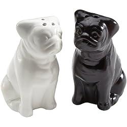Partyschreck 24 - Salero y pimentero con forma de perros, color blanco y negro