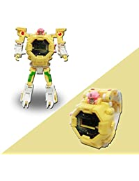2 en 1 Transform Toys Robot Watches Kids Learning Toys Robots Deformation Toys Relojes (Yellow)