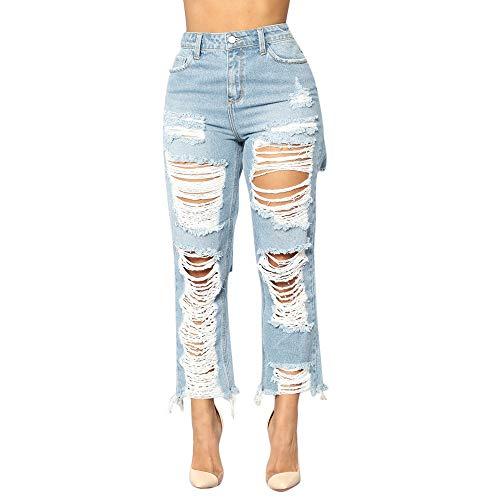 YWLINK Damen Mode Jeans Modern LäSsige Frauen Denim Loch Weibliche Mittlere Taille Stretch Schlanke Bleistifthose(M,Blau)