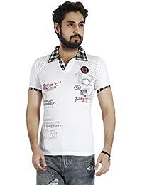 Basilio Men's Polo Neck Contrast Detailing Pure Cotton T-Shirt